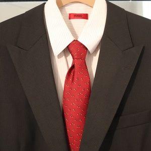 Hugo Boss, Full Suit, 44L 38W x 44, Black w/ Pins